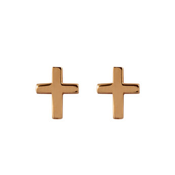 Rose gold cross earrings, J00865-03, hi-res