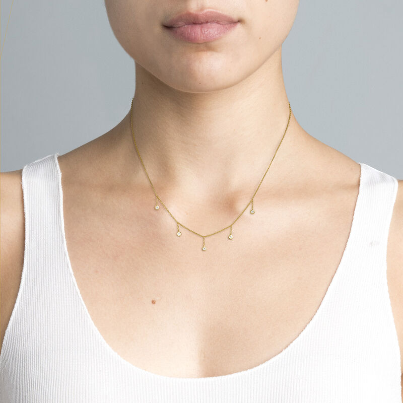 Gold plated silver topaz motifs necklace, J04681-02-WT, hi-res