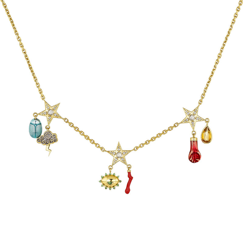 Gold plated star necklace, J04295-02-WTCQ-EN, hi-res