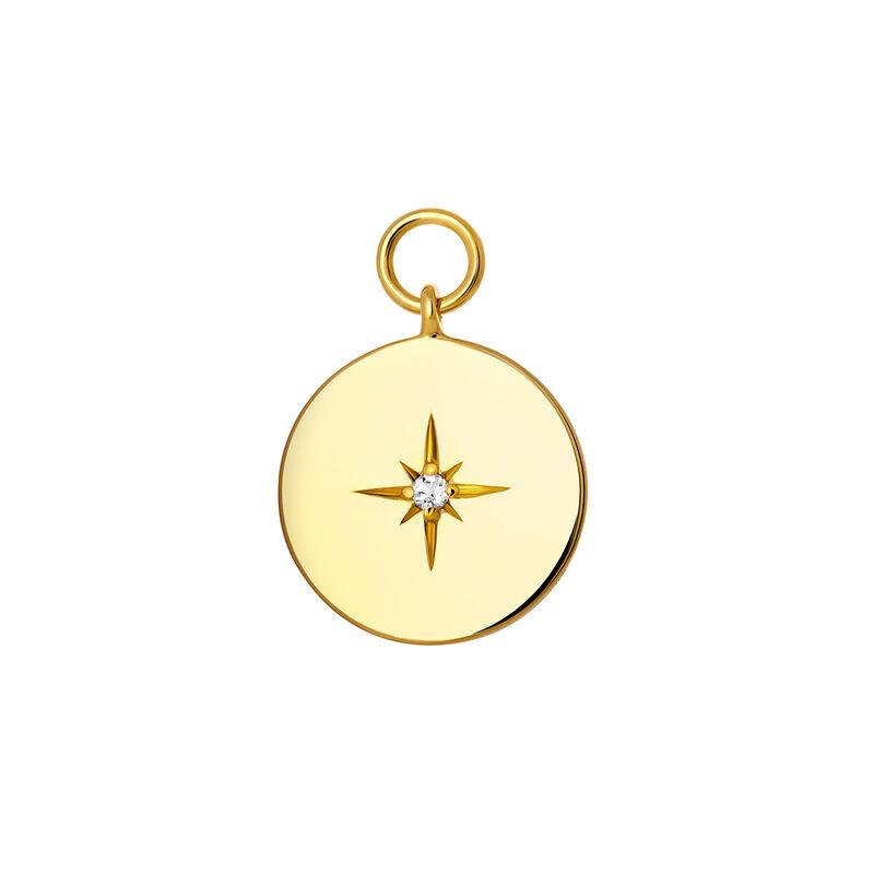 Pendentif cercle spinelle topaze argent plaqué or, J03776-02-WT, hi-res