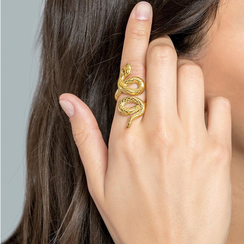 Gold coiled snake ring, J03179-02, hi-res