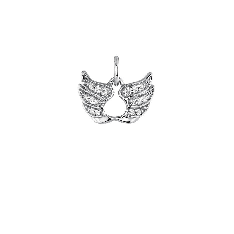 Silver lucky wings necklace, J03824-01-WT, hi-res