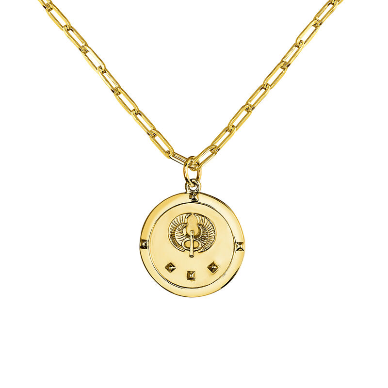 Gold star coin pendant, J03589-02, hi-res
