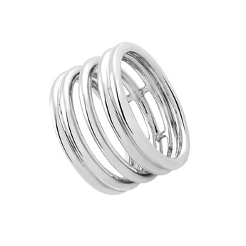 Smooth silver triple ring, J03091-01, hi-res
