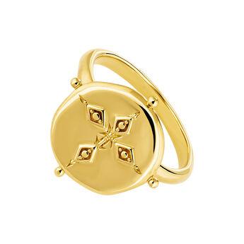 Anillo medalla grande plata recubierta oro, J04261-02, hi-res