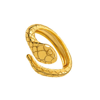 Gold snake ring, J01982-02, hi-res