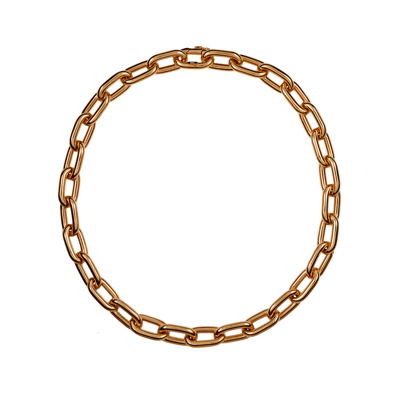 Short rose gold plated rectangular forza necklace, J00900-03-45, hi-res