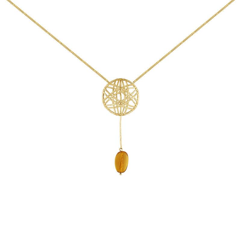 Collier en osier pendentif ambre plaqué or, J04421-02-AMB, hi-res