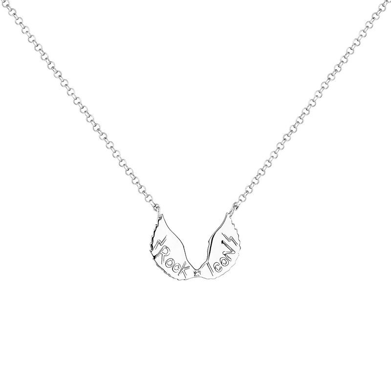 Silver wings necklace, J04304-01, hi-res