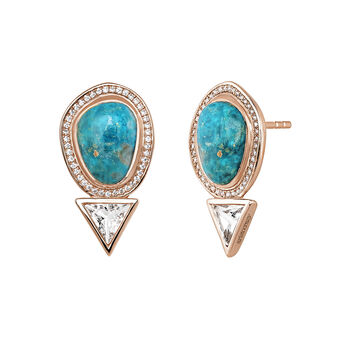 Small pink gold plated chrysocollas and topazes boho earrings, J04120-03-CH-WT, hi-res