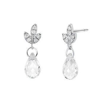 Silver diamond and topaz drop earrings, J03715-01-WT-GD, hi-res