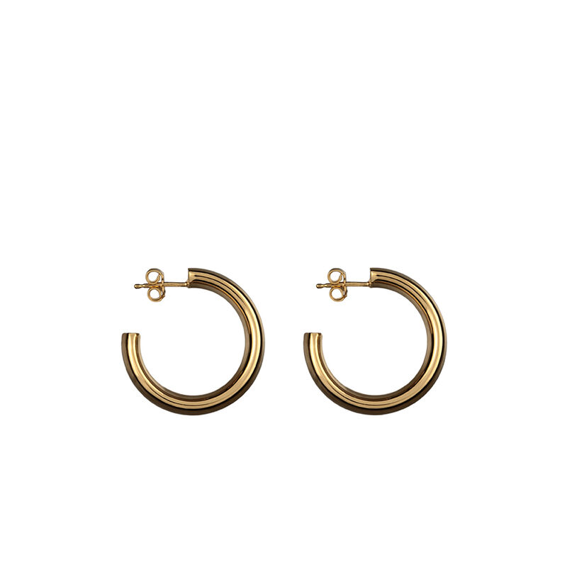 Small wide gold plated smooth hoop earrings, J00112-02, hi-res