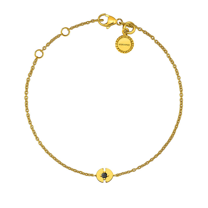 Bracelet cercle argent plaqué or avec spinelle, J03747-02-BSN, hi-res