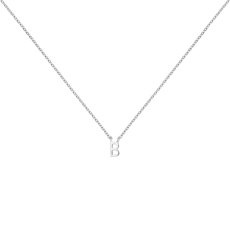 Collier iniciale B or blanc, J04382-01-B, hi-res
