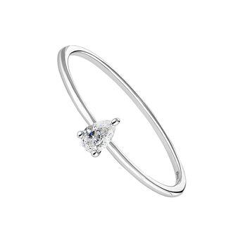 Bague solitaire diamant poire or blanc, J04438-01, hi-res