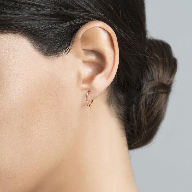 Rose gold three diamond spike hoop earring piercing 0.04 ct, J03873-03-H, hi-res