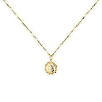 Gold plated medal necklace, J04712-02, hi-res