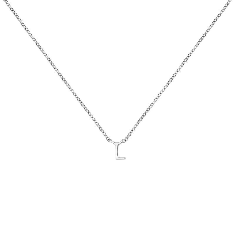 Collier iniciale L or blanc, J04382-01-L, hi-res
