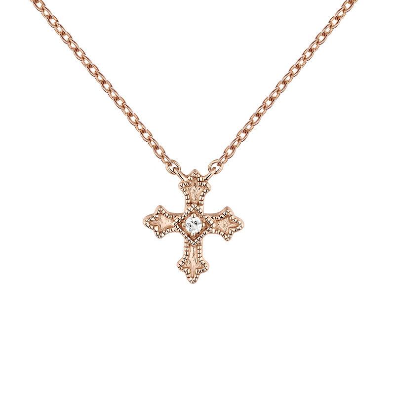 Collar cruz pequeña topacios oro rosa, J04230-03-WT, hi-res