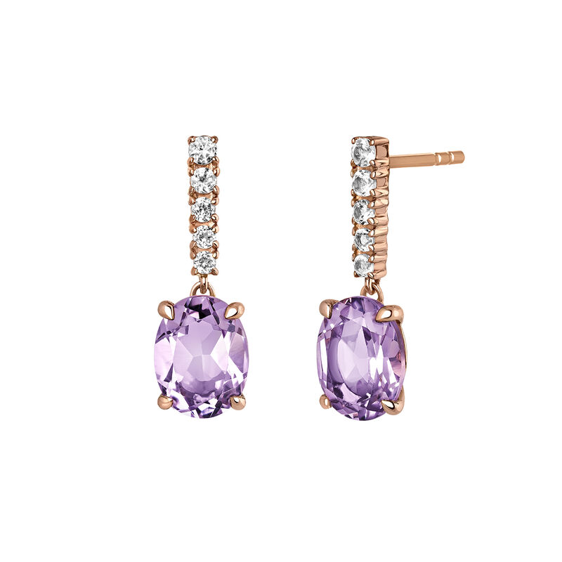 Long rose gold plated amethyst earrings, J03752-03-PAM-WT, hi-res