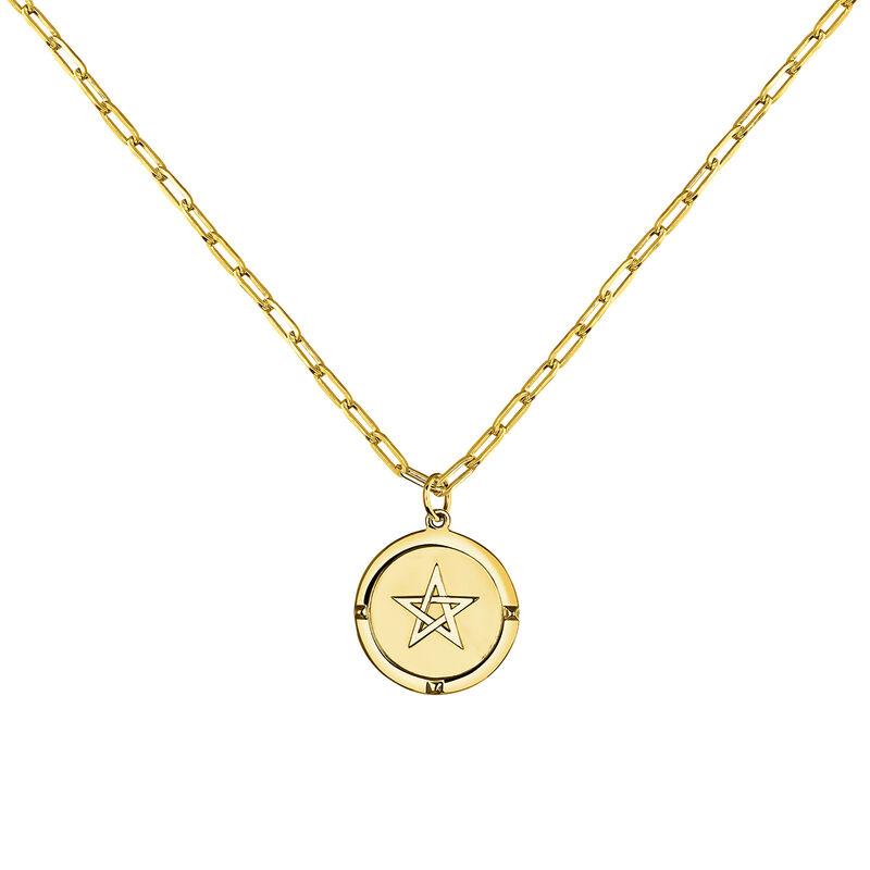 Collier monnaie étoile argent plaqué or, J03589-02, hi-res