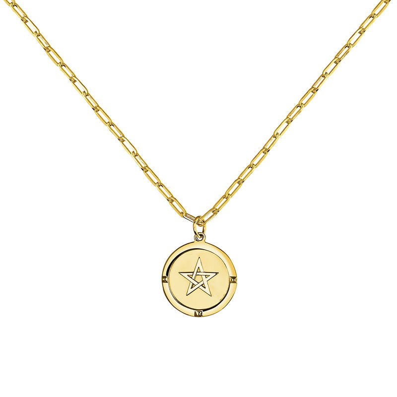 Colgante moneda estrella plata recubierta oro, J03589-02, hi-res