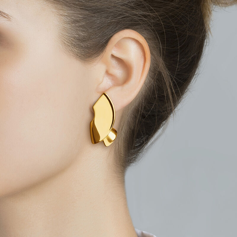 Gold sculptural earrings, J03505-02, hi-res