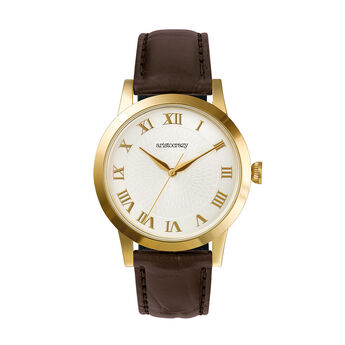 Brera watch brown strap white face, W44A-YWYWWH-LEBR, hi-res