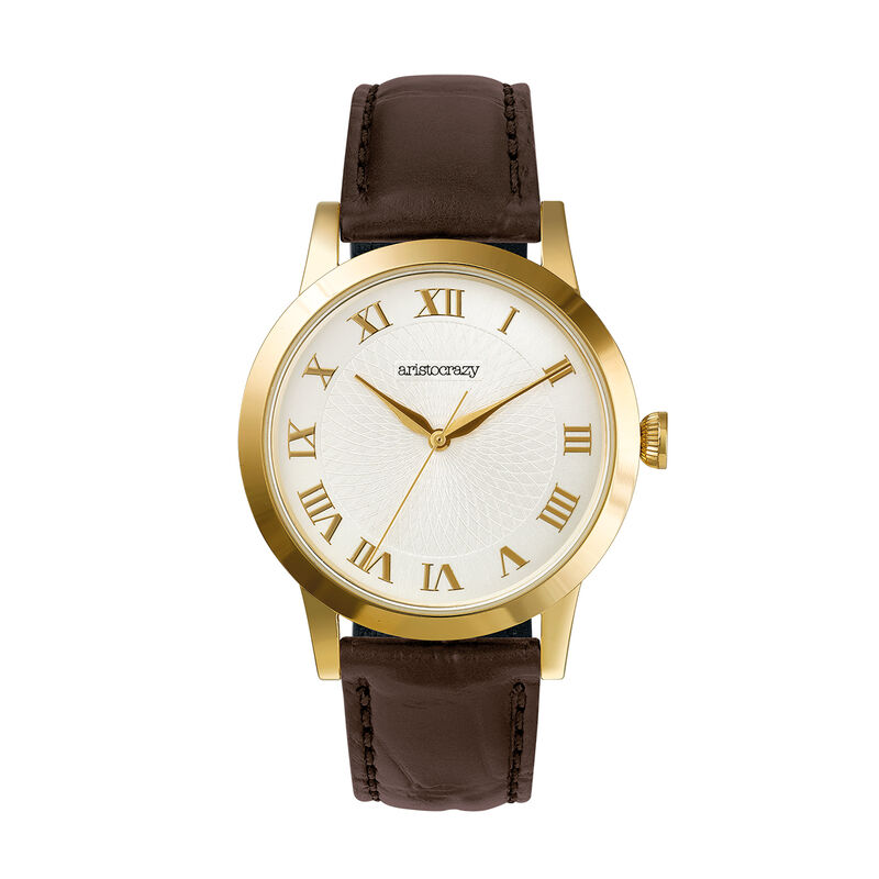 Brera watch brown strap white face, W44A-YWYWWH-LEBR, hi-res