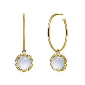 Gold stone hoop earrings, J03495-02-BCWT, hi-res