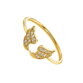 Gold lucky wings ring, J03829-02-WT, hi-res