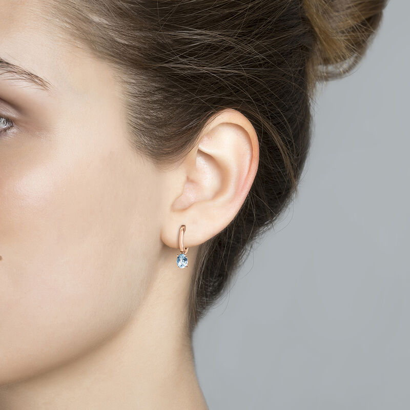 Small rose gold plated hoop earrings with topaz, J03811-03-SKY, hi-res