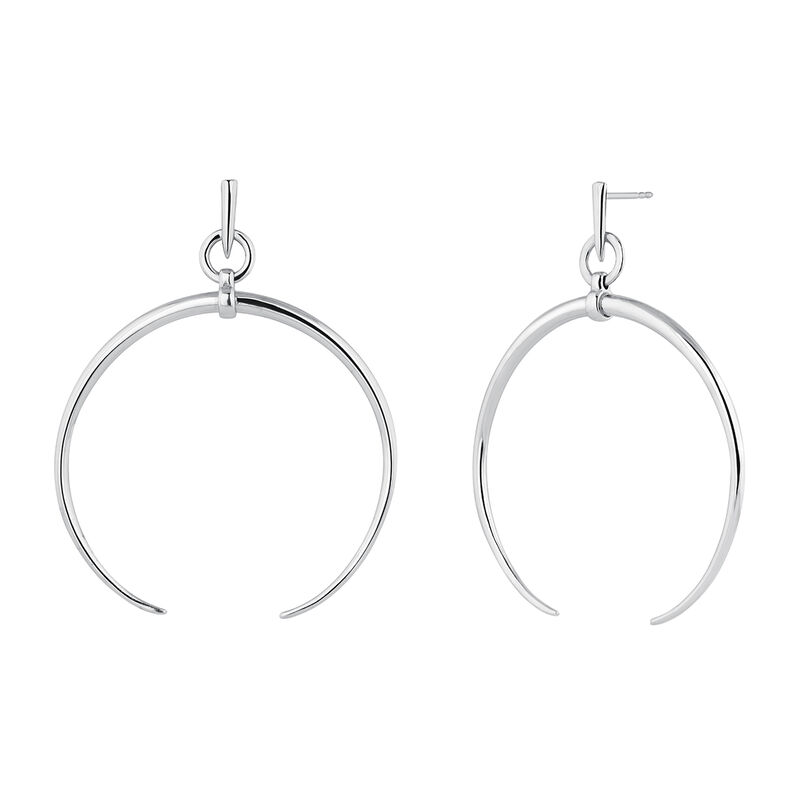 Large silver half-moon hoop earrings, J04215-01, hi-res
