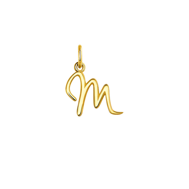 Gold letter M necklace, YELLOWGOLDPLTD STERLING SILVER, hi-res