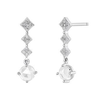 Silver Vintage Long Earrings, J03797-01-WT-GD, hi-res
