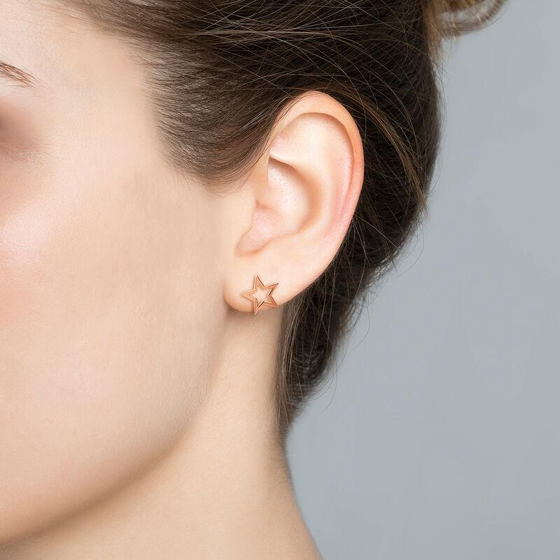 Rose gold hollow star earrings, J01895-03, hi-res