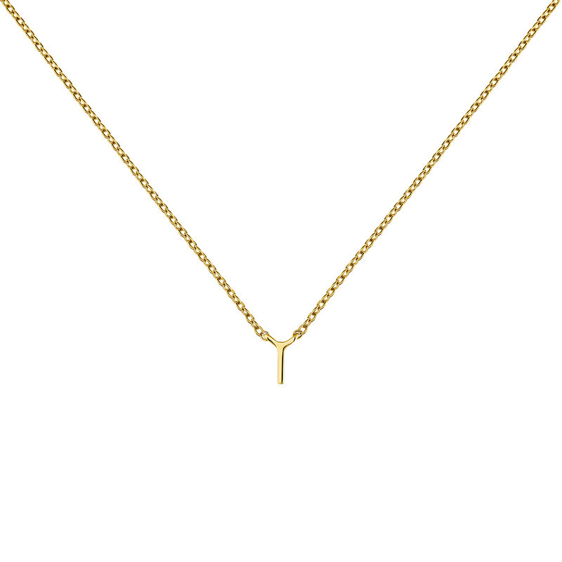 Gold Initial I necklace, J04382-02-I, hi-res
