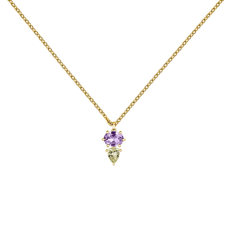 Gold geometric gemstone necklace, J03756-02-AM-LQ, hi-res