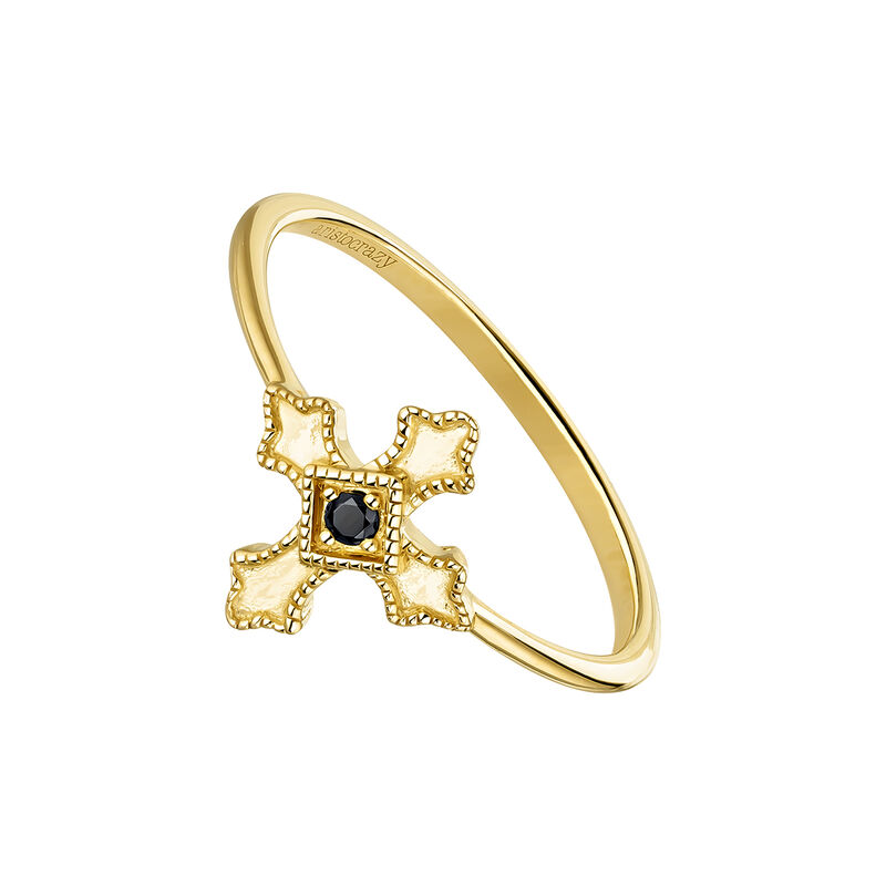 Gold plated cross ring with spinels, J04225-02-BSN, hi-res