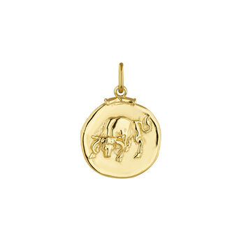 Pendentif taureau argent plaqué or, J04780-02-TAU, hi-res