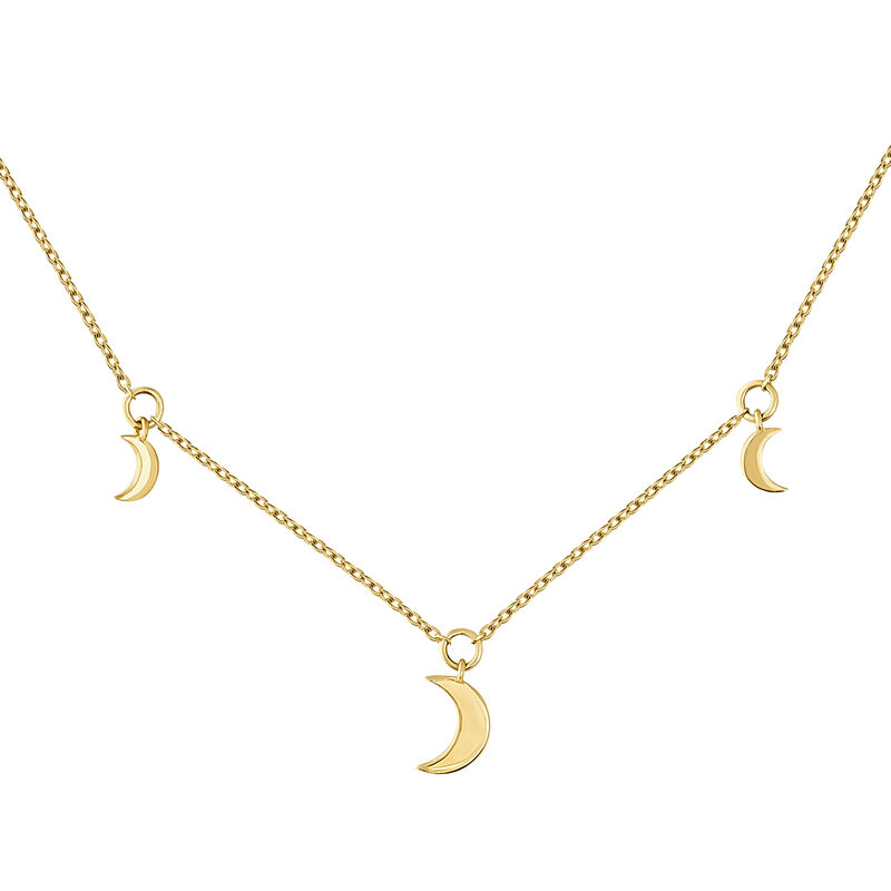 Gold moon motifs necklace, J04542-02, hi-res