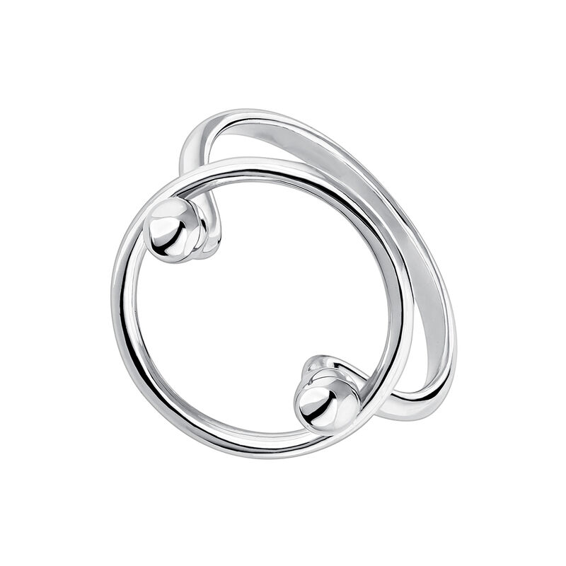 Silver piercing balls circle ring, J04326-01, hi-res