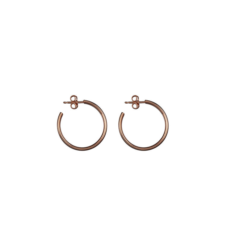 Medium rose gold plated smooth hoop earrings, J01587-03, hi-res