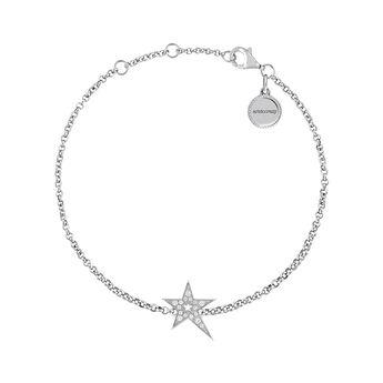 Pulsera estrella hueca asimétrica topacio plata, J03974-01-WT, hi-res