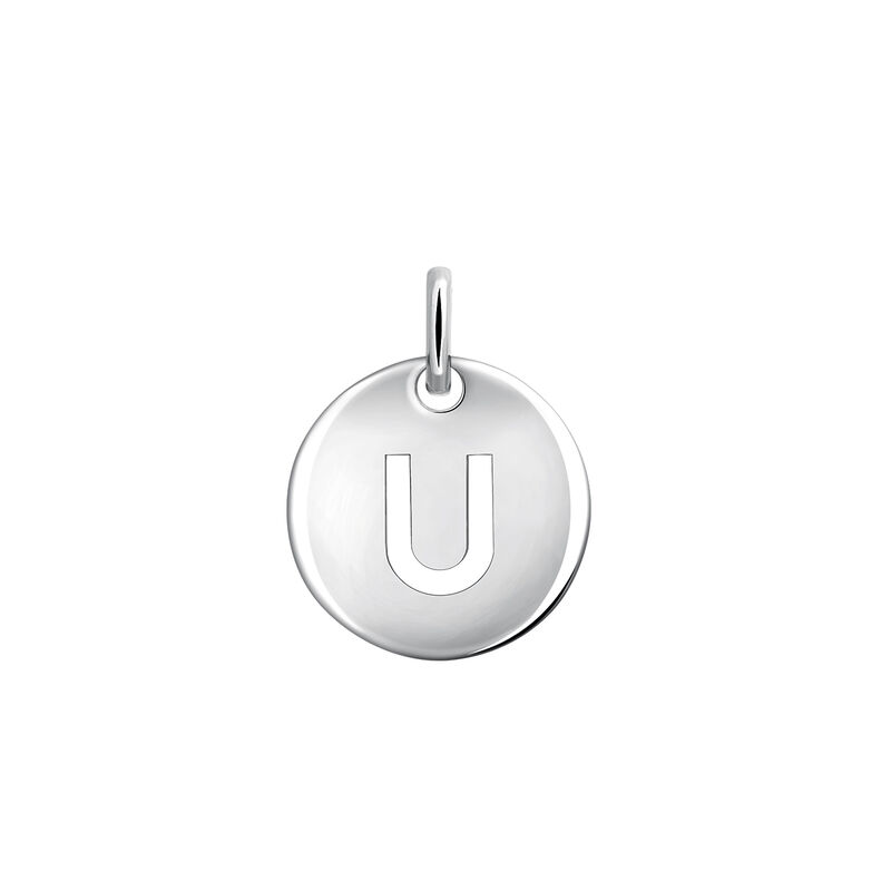 Silver U letter necklace, J03455-01-U, hi-res