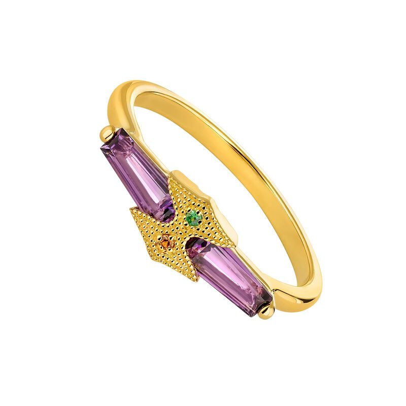 Gold plated amethyst rectangular ring