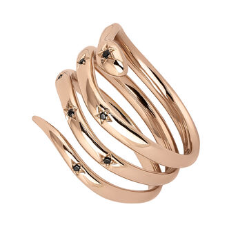 Rose gold plated snake ring with spinels, J04196-03-BSN, hi-res