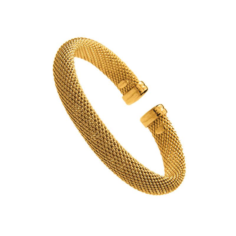 Pulsera malla rígida oro, J01328-02, hi-res