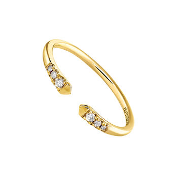 Yellow gold You and I diamond ring 0.056 ct, J03882-02, hi-res