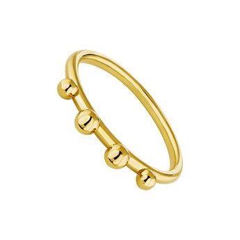 Gold plated silver piercing balls ring, J04332-02, hi-res